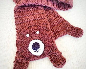 Animal scarf, neck warmer, Kids scarf, Girl Accessories, Handmade Gifts, Crochet Scarf. Cute Bear