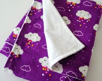 Baby or Toddler Blanket for Girl - Clouds and Stars on Purple / Violet Cotton, White Minky Back, 28 x 35 inches