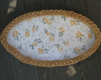 Vintage Woven Dresser Tray with Yellow Roses Design - Handmade - Home Decor, Serving - Zimbabwe