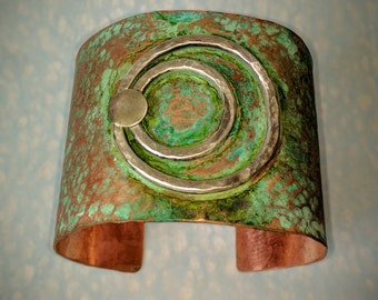 Patina copper hammered cuff