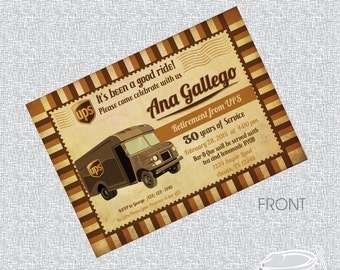 Printable Retirement Invitation UPS truck Post Card/ FILE ONLY