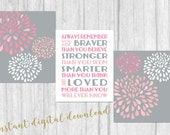 Always Remember You Are Braver Flower SET OF 3 SALE Nursery Wall Art Printable Prints File 8x10 Digital Download Girls Room Pink  Gray Decor
