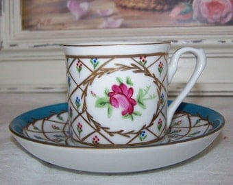 Vintage bone china hand painted coffee can demi tasse cup and saucer. cabinet display