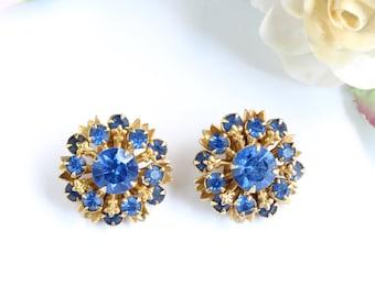 Vintage Blue Rhinestone Earrings, Petite Cobalt Blue Flower Gold Tone Filigree Earrings