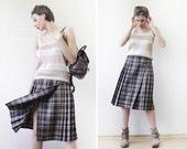 JAEGER vintage brown black tartan plaid wool pleated wrap midi skirt XS