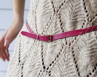 Vintage pink braided leather tiny waist hip belt