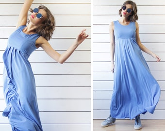 MaxMara vintage sky blue jersey sleeveless empire waist long summer maxi dress S