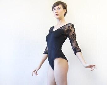 Vintage black sheer lace long sleeve leotard bodysuit blouse top M-L