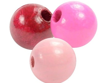 Exclusive wooden beads pink/bordeaux mix
