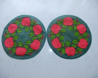 Vintage Swedish set of two small round linen tablecloths - Apple wreath