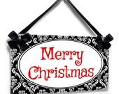 Merry Christmas  sign  - christmas door hanger - damask theme decor -  P2059