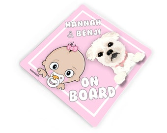 personalizable cute baby girl with poodle on board - baby on board car bumper sticker - CD3S