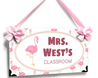personalized teacher name door sign. pink flamingo theme name plaque - P2388