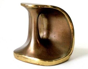 Vintage 60s Ben Seibel Jenfred Ware Brass Bookend Paperweight Handles Mid Century Modern Retro