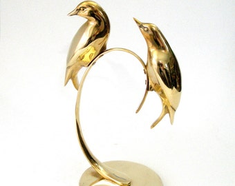 Vtg BRASS 11 x 8 Two BIRDS SCULPTURE Stylized Sleek Modern Twisted Curve Perch Stand Round Base Shiny Finish Mid Century Solid Brass