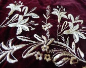 Antique embroidered two silk velvet skirt panels cream on burgundy pretty floral design c1880 freesia handwork projects