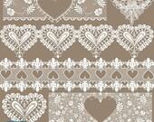 70% Sale Heart Lace Borders - Digital Clipart / Scrapbooking - card design, invitations, paper crafts, web design - INSTANT DOWNLOAD