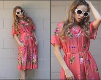 Vintage 70s 80s Floral Flowy House Dress Boho Hippie XS S M L