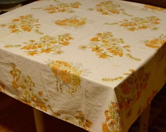 Vintage Vera Neumann Tablecloth Floral White Yellow Orange