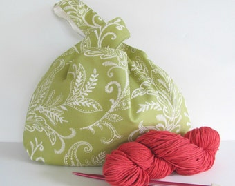 Knitting Tote Bag, Large Crochet Project Bag, Knitting Bag-  Lime Ferns Japanese Knot Bag