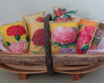 Hand Printed Vintage French Seed Packet Pillows