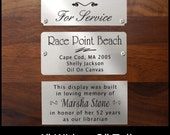 "Engraved Brushed Silver Nickel Plate Picture Frame Art Label Name Tag 4"" x 2"" with Adhesive on Back or Holes with Screws"