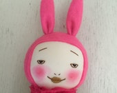 Handmade pink smiling bunny doll