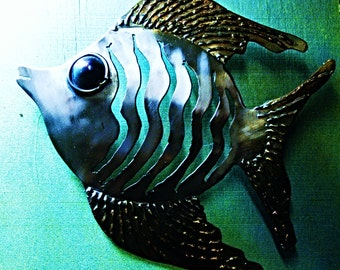 Bob the fish, hand made metal wall sculpture