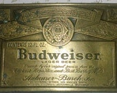 Belt Buckle Vintage Budweiser Solid Brass Signed Collectible Engraved on Both Sides Unique Big Bold Unisex Statement Uncommon Metalwork