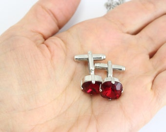 Red Silver Cufflinks Groomsmen Gift Father of Groom Father of Bride Gift Best Man Gift Men Accessories For Men Gift For Him Gifts For Dad