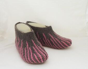 Handknitted Women Slippers, Short Socks, Striped Slippers, Home Slippers, Slippers in Brown and Pink, Women Short Socks