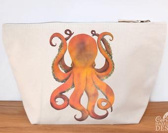 Octopus Canvas Wash Bag, Large Zipper Pouch, Makeup Bag, Toiletry Bag, Accessory Bag