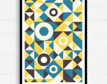 Geometric Art, Mid Century Modern, Abstract Art, Yellow And Blue, Abstract Wall Art, Art Print, Contemporary Art, A3 Print, Home Decor