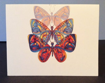 Butterfly 2, Triple Blank Greeting Card - Set of 10