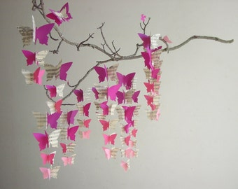 "Butterfly Baby Mobile ""Pink Ombre"" - Upcycled Baby Mobile - Vintage Sheet Music Nursery Decor - Ombre Baby Mobile - Crib Mobile - Baby Girl"