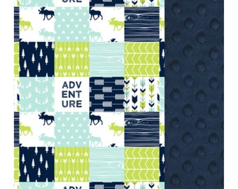 Baby Blanket Lime Navy Aqua Moose Patch Carseat Blanket Crib Blanket Minky Blanket