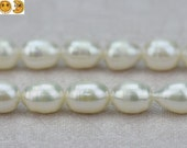 14 inch strand of Grade AA Freshwater Pearl smooth oval beads,rice beads 7-8 mm