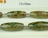 Sale---8 pcs of Tibetan Agate dZi six eyes pattern smooth rice beads 15x40mm