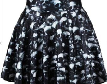 Skull skirt. Goth. Emo. Skeleton. Dance wear. Rave wear. Club wear. Black. White