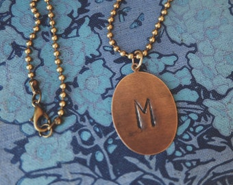 Handstamped Initial Pendant Necklace