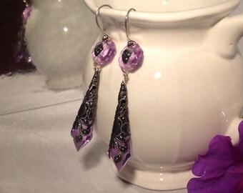 Rennassaince Faire Earrings Purple Crystal Steampunk Goth Earrings Rennassaince