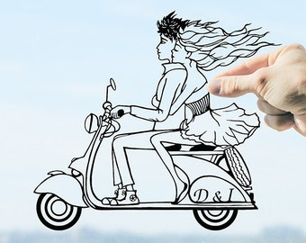 Travel Wall Art Vespa Scooter Couple Wall Art Vespa Art Couple in Love Personalized Travel Gifts Scooter Wall Art Travel Gifts for Couples