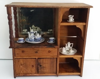 Vintage Child's Wooden China Hutch / Cabinet -- Primitive and Handmade, As Is