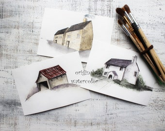 Set of 3 watercolor painting sketches English cottage landscape original painting 6x8' watercolor nursery art