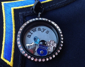 Blue Lives Matter Floating Locket with locket, chain, plate and 5 charms