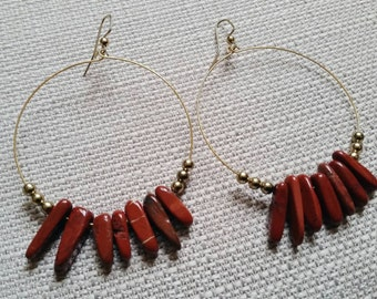 Red Jasper and Brass Hoop Earrings