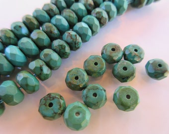 Faceted Rondelle Turquoise beads 8mm x 5mm stabilized Dark green color with brown matrix 10pc spacer bead (T113b)
