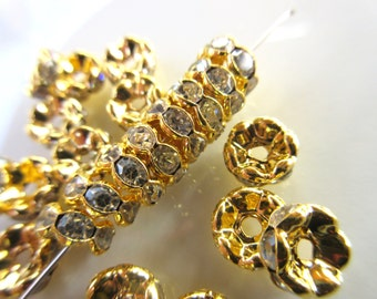 20pc Clear Czech Crystal Rhinestone Wavy spacer beads 8mm rondelle vintage style jewelry finding Gold plated brass R126