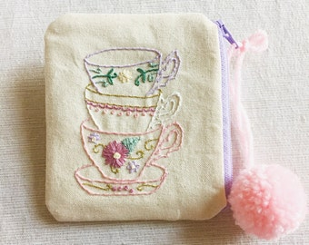 Tea Time Wallet // Handmade // Hand-embroidered // Change Purse // Momogram // Custom // Business Card Holder // ID and Credit Card Pouch