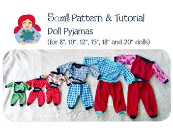 Waldorf Doll Pyjamas in 6 sizes PDF Pattern INSTANT DOWNLOAD
